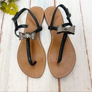 Tory Burch Rhinestone Bow Black Thong Sandals